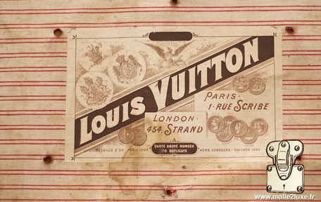 malle Louis vuitton Paris 1 rue scribe London  454, Strand   Médaille d'or Paris 1889 Quote above number to duplicate Hors concours. Chicago 1893