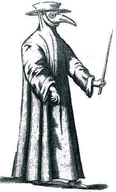 Tenue « médicale » vers 1350, lors des épidémies