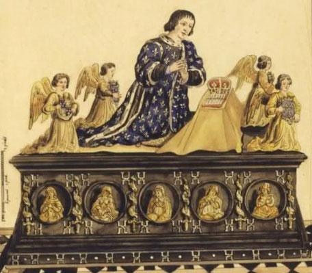 Tombeau Charles VIII Gaignière 2 par François Roger de Gaignières. Dessin provenant des recueils de Gaignières (tombeaux, volume 2 folio 48). (Source : Sous licence Domaine public via Wikimedia Commons - http://bit.ly/1V6jbVs)