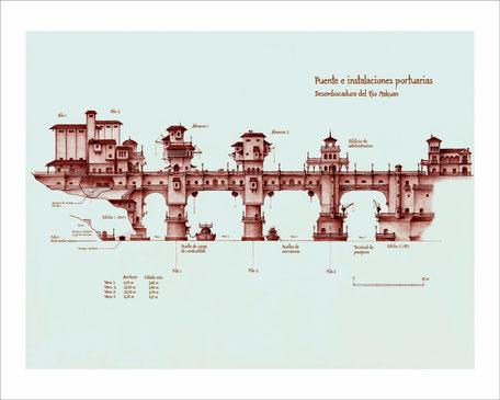 dibujos, dibujo arquitectonico, arquitectura fantastica, arte fantastico, dibujo fantastico, dibujantes españoles, dibujos a boligrafo, dibujos de puentes