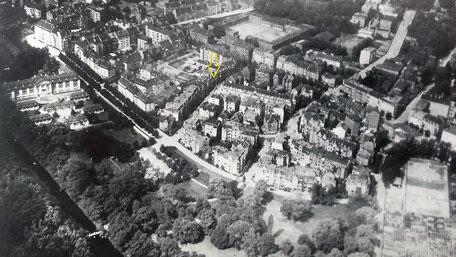 Luftbild der Kasseler Südstadt / gelb markiert: die Landaustraße 9
