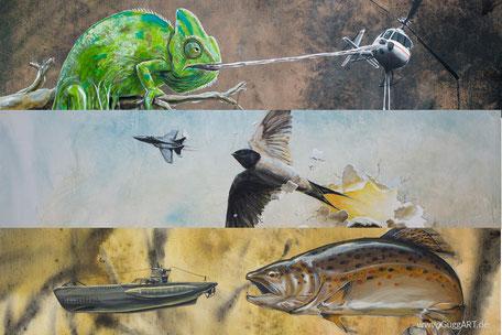 Die Natur schlägt zurück, nature strikes back, Malerei von Guggemos Thomas, Tiere fressen Menschen