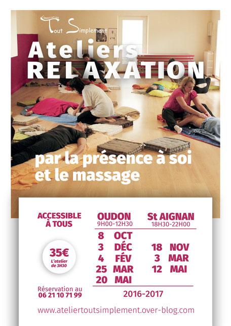 """Affiche des dates des ateliers de l'Association """"Tout Simplement"""" relaxation par la présence à soi et le massage"""