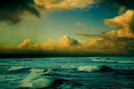 Sonnenuntergang am Meer, Bild des Atem des Lebens bei Craniosacraltherapie, Foto Mike Wilson
