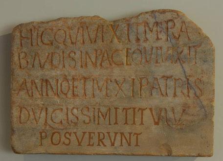 Grabinschrift des Kleinkindes Merabaudes (450 – 500 n. Chr./Trier/Foto: Joachim Maas)