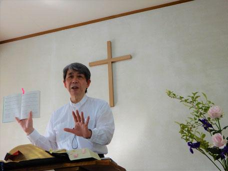 2020年5月24日(日)復活節最終主日 十文字平和教会の講壇で 森牧師