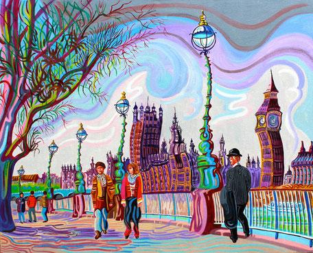 EL PARLAMENTO (LONDON).Oil on canvas. 81 x100 x 3,5 cm.