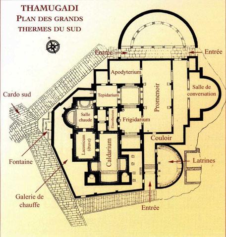 Timgad (Thamugadi) : Plan des Grands Thermes du Sud