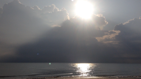 Sonnenaufgang Morgen am Meer Italien Rimini Strand