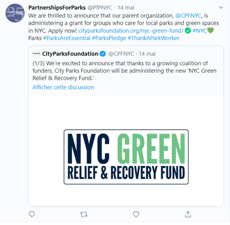Screenshot from the Partnership for Parks Tweeter account  (1 228 followers), another influential non-profit organization. Here is a retweet from the City Parks Foundation (5 261 followers). Visited on May 20th 2020.
