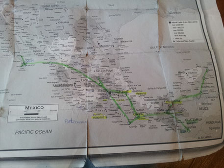 Tour de Mexico and Guatemala (green line). I think it was around 10.000 km in almost 6 month.