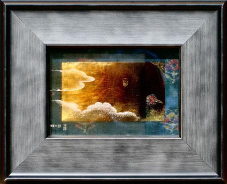 「雉の間」ガラス絵、金箔、紬 10.3x15.1cm (ガラスサイズ)