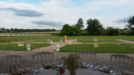 Dîner de mariage de rêve en terrasse au Château La Hitte en Gascogne
