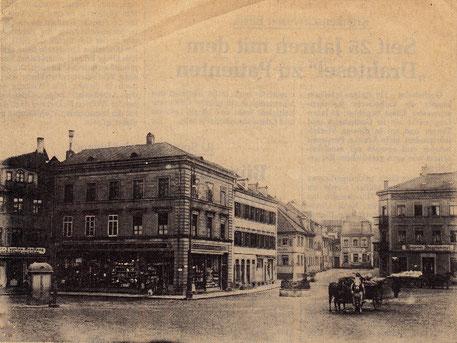 Albrecht-Dürer-Platz Schweinfurt, links das Kaufhaus Kretzschmar (im Zweiten Weltkrieg zerstört) rechts Brauerei Hagenmeyer (Ausschank und Familienwohnung)