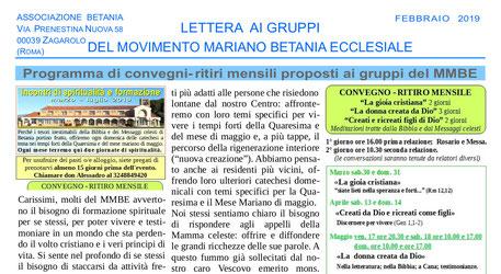 Lettera ai gruppi Movimento Mariano Betania Ecclesiale febbraio 2019