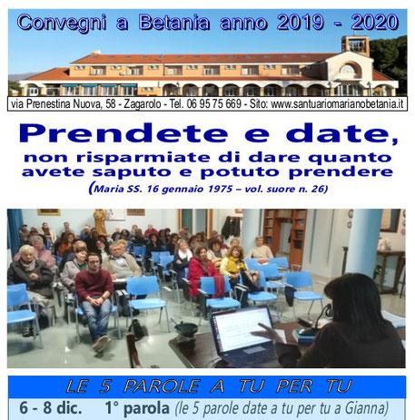prossimi impegni attività movimento mariano Betania