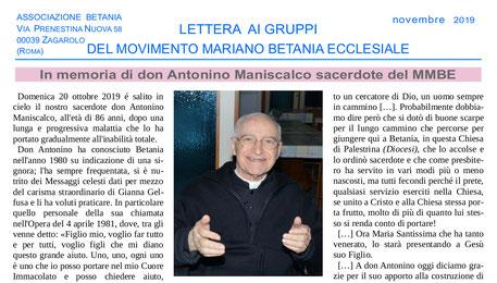 Lettera gruppi movumento mariano betania novembre 2019 don Antonino Maniscalco