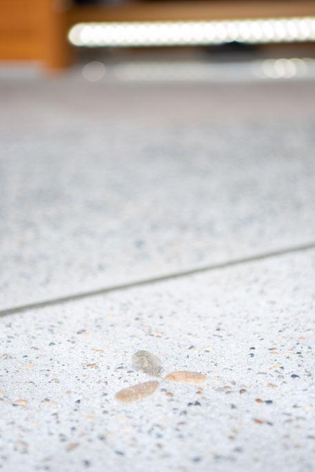 玄関ポーチの土間の模様を見る