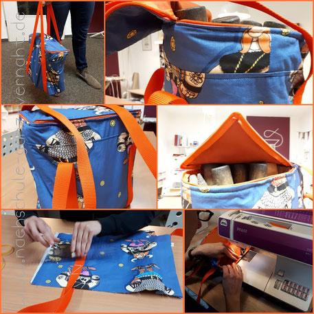 Nähschule ganz vernaht, Tasche mit orangenen Griffen