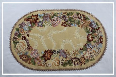 Gobelin Tischläufer mit bunte Blumenmuster Oval Klassisch