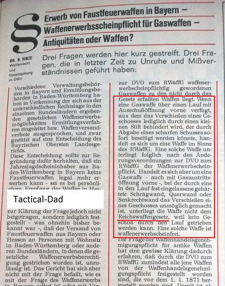 DWJ von 1971. Es galt immer noch das Reichswaffengesetz und die ersten SSW hatten eine PTB-Zulassung. Diese wurde aber nicht in allen Bundeländern anerkannt. In Bayern durften nur SSW mit starken Laufsperren aus Stahlblättern frei verkauft werden.