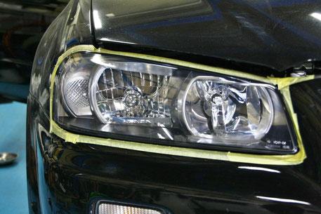 ヘッドライトリペア後のBNR34MスペックGT‐R 埼玉の車磨き専門店