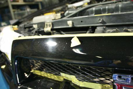 BNR34フロントバンパーの傷 洗車傷 黒のスカイラインGT‐R
