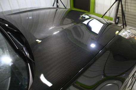 Z34黒のボンネットの研磨 濃色車 スクラッチシールド の磨き 埼玉