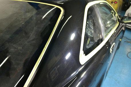 BNR34Cピラー磨き後 埼玉の車磨き専門店 濃色車のコーティング