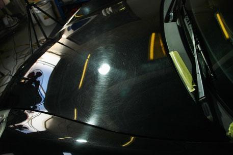 ポルシェ996の傷 バサルトブラックの磨き