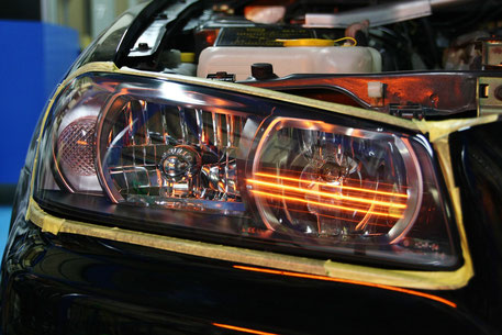 BNR34Mスペックのヘッドライトコーティング