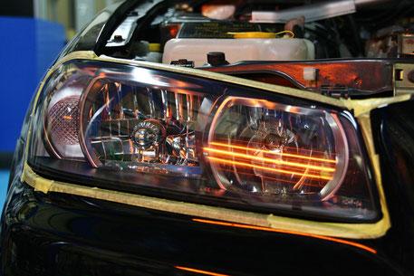BNR34Mスペックのヘッドライトコーティング スカイラインGT‐R