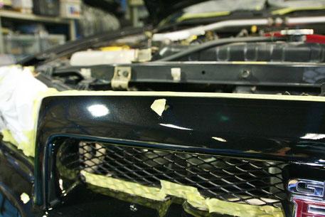 BNR34Fバンパーの傷消し磨き 埼玉の車磨き専門店  黒い車の傷除去 濃色車 GT-R スカイライン R34