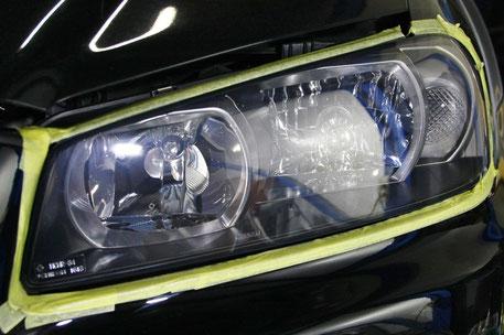 ヘッドライト磨きで綺麗になったBNR34Mスペック