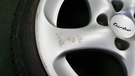996ターボの純正ホイール 擦り傷 ホイールコーティング