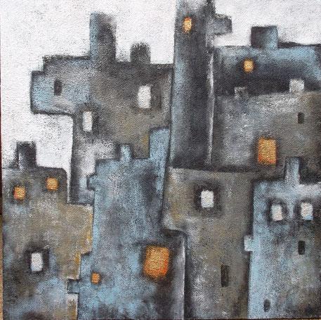 Eine feste Burg - Mischtechnik auf Leinwand - 90 x 90