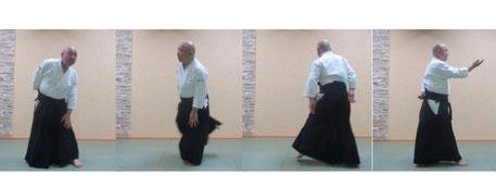 画像②単独動作後方回転 左足を軸とする。