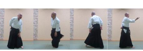 画像①左半身から右半身へ単独基本動作後ろ回転、側面像:ⅰ左足を内股に、手を膝において軸とし、ⅱ後ろの右足を跳ね上げて軸の踵を回って軸足の交代、ⅲ左足を180 度内転して踏み左手は腰仙部に回す。ⅳ右半身陰の魄氣で後ろ回転の完成。