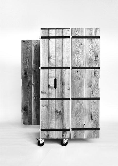IGN CASE Kofferschrank auf Rollen, mit 2 und 2 Türen, Massivholz