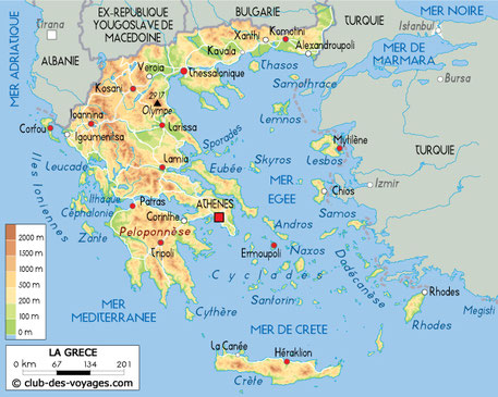 carte grece relief