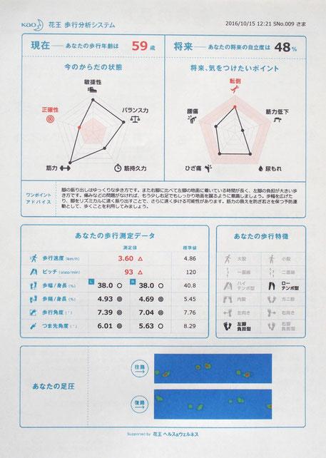 「歩行測定」の結果シート