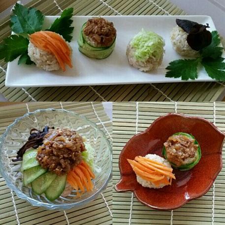 玄米の手毬寿司とビビンバふう。ちなみに、全部同じ食材で、器や盛り付けを変えただけの写真。どれが1番美味しそうに見えますかね?