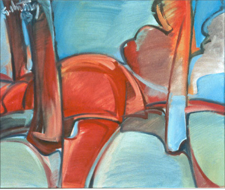 """Roter Busch"", 2003, Öl / Leinwand, 50 x 60 cm"