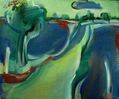 """Die blaue Wolke"", 2014, Öl auf Leinwand, 50 x 60 cm"