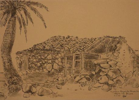 """""""Verfallenens Bauernhaus auf La Gomera""""  Federzeichnung von Gerhard Weil"""