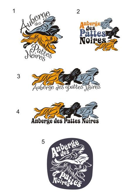 Эскизы логотипа для питомника Auberge des Pattes Noires. Нидерланды.