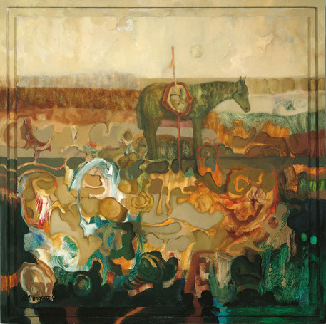 Espera, inutilmente, a su jinete - 91 x 91 cm - óleo/Dmp+T - Guillermo R. Mingorance