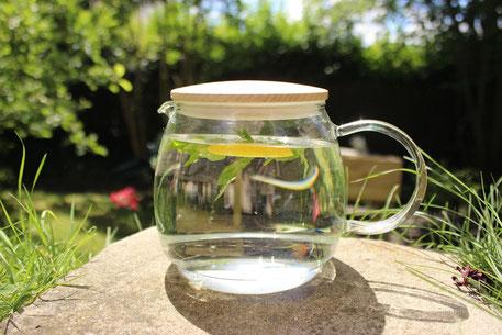 大きなガラスコップに入ったミントとレモンスライス
