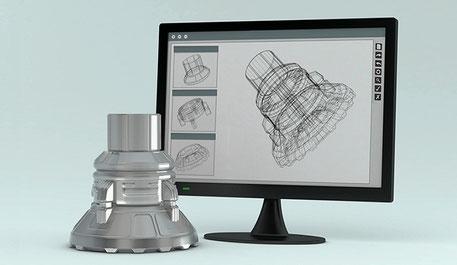 Pc und  CAD- Zeichnung, Prototyp CDL-ProTec