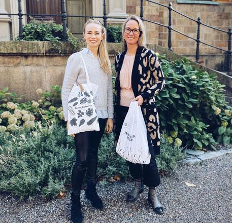 Freuen sich über den gelungen Start der Zusammenarbeit. Josephine Alhanko, Pia Walter von Reused Remade...